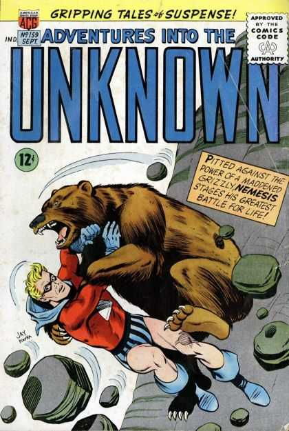 Adventures Into the Unknown 159 - Masked Man - Blonde Short Hair - Rocks - Falling Man - Grizzly