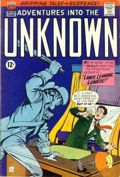 Adventures Into the Unknown 170 - Gripping Tales Of Suspense - Lance Lenning Lunatic - Lamp - Ghost - Menacng Spirit