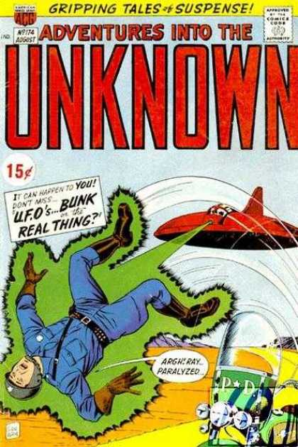 Adventures Into the Unknown 174 - Flying Saucer - Spaceship - Bunk - Real Thing - Motorcycle