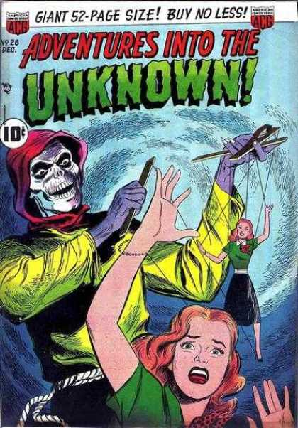 Adventures Into the Unknown 26 - 10 Cents - Skull - Marionette - Puppet - Hand