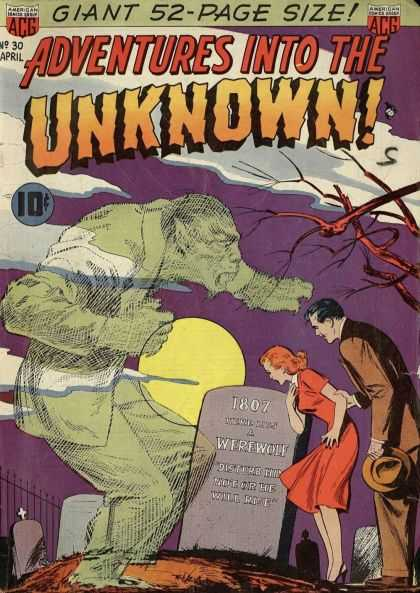 Adventures Into the Unknown 30 - Giant 52-page Size - No 30 April - 1807 Werewolf - Tombstone - Forest