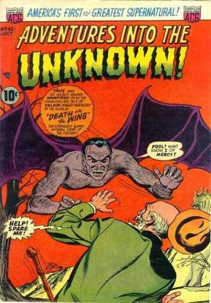 Adventures Into the Unknown 45 - Acg - 10c - Bat - Supernatural - Americas First