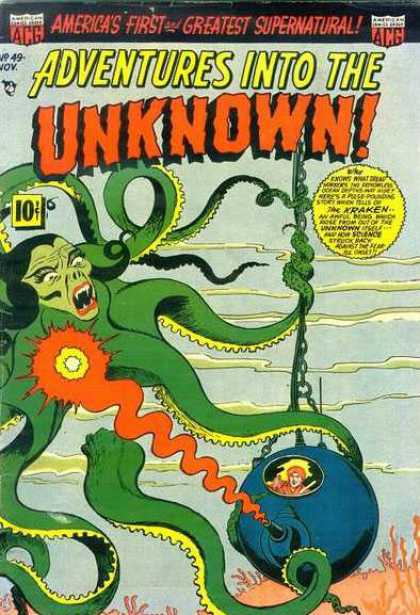 Adventures Into the Unknown 49 - Supernatural - Under The Sea - Octopus Monster - Submarine - Kraken