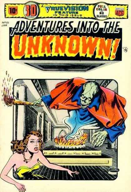 Adventures Into the Unknown 51 - Fire - Torch - Woman - Cape - True Vision