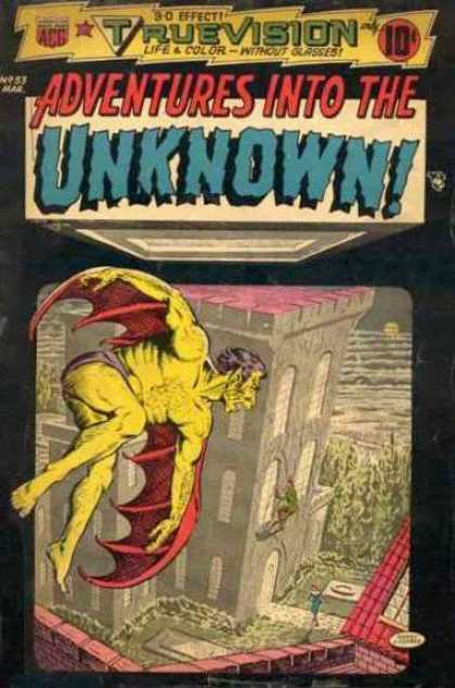 Adventures Into the Unknown 53 - Truevision - Yellow Demon - Red Wings - Castle - Woman