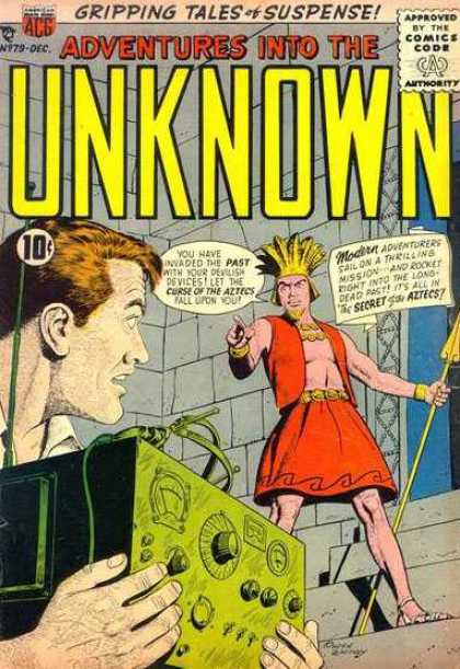 Adventures Into the Unknown 79 - Time Travel - Time Machine - Aztecs - Spear - Suspense