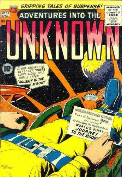 Adventures Into the Unknown 95 - Acg - Acg Comics - Moon - Journey - Uknown