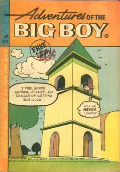 Adventures of the Big Boy 120 - Will He Never Learn - Yellow And Green Tower - Wooden Doors - Arched Window Openings - Birds In Sky