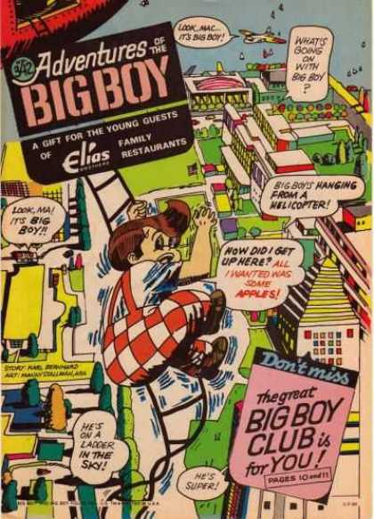 Adventures of the Big Boy 342 - Above City - Ladder - Help - Airplane - Sky