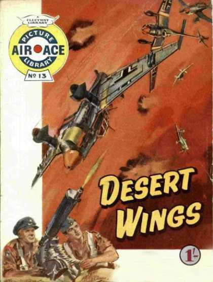 Air Ace Picture Library 13 - Desert Wings - Gunners - Planes - Dogfight - Shot Down