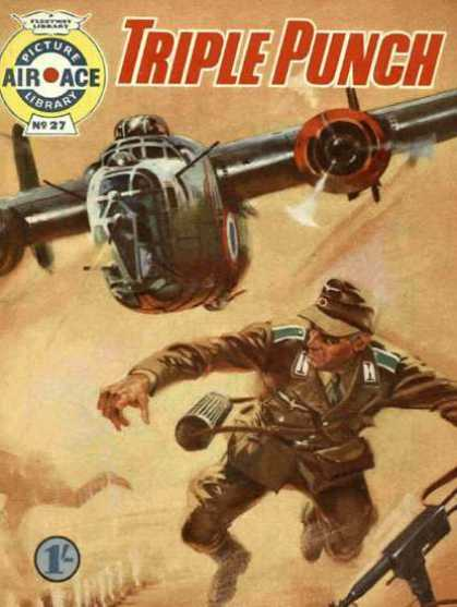 Air Ace Picture Library 27 - Triple Punch - Airplane - Machine Gun - Military - Fighting