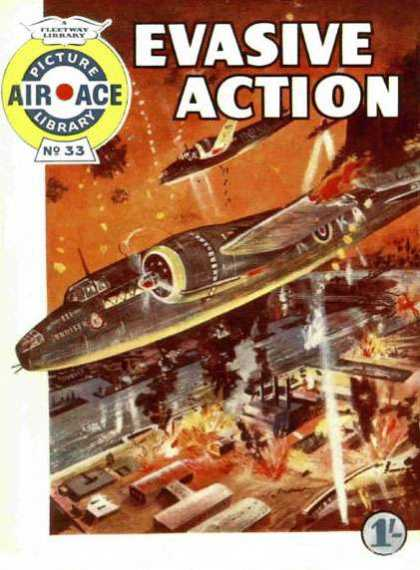 Air Ace Picture Library 33 - Evasive Action - Airplane - Bomber - Fire - No 33