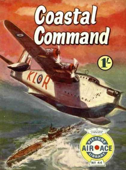 Air Ace Picture Library 44 - Sea Plane - Submarine - Klor - War - Ocean