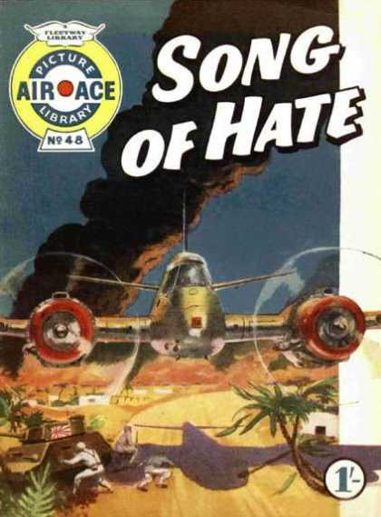 Air Ace Picture Library 48 - Song Of Hate - Airplane - Smoke - Trees - Tank