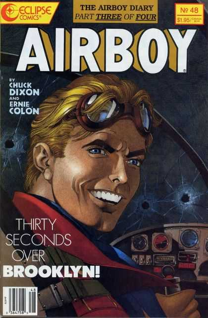 Airboy 48 - Young Man - Aviator Goggles - Chicklet Teeth - Bullet Holes - Plane Controls