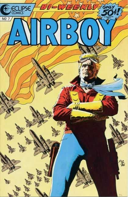 Airboy 7 - Eclipse Comics - Bi-weekly - Only 50c - Plane - Flag - Paul Gulacy