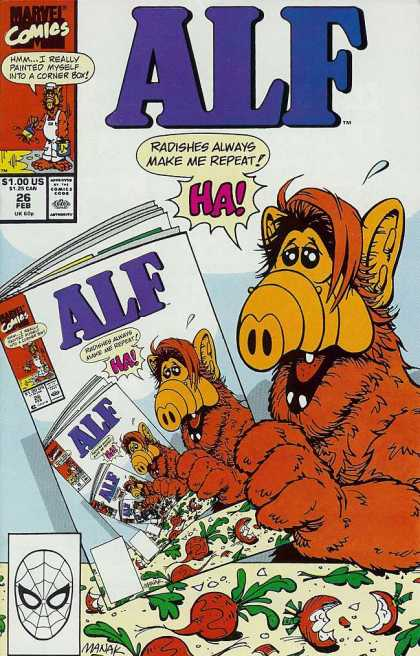 Alf 26 - Marvel Comics - Radishes Always Make Me Repeat - Spiderman - Radishes - Hmm I Really Painted Myself Into A Corner Box