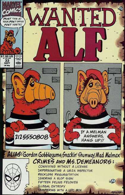 Alf 33 - Marvel Comics - Post This At Your Post Office Post Haste - Crimes And Msdemandor - 2125550808 - If A Melman Answershang Up