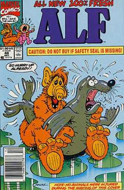 Alf 48 - Caution Do Not Buy If Safety Seal Is Missin - Marvel Commics - Seal - No Animals Were Injured - Crying Baby