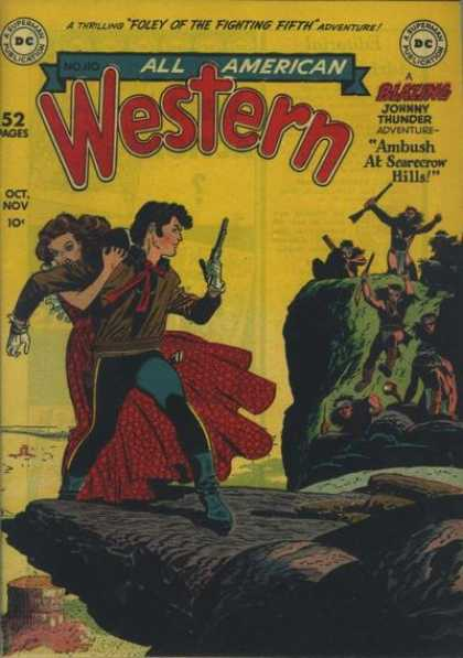 All-American Comics - All American Western - Western - Cowboy - Gun - Indians - Red Dress
