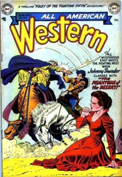 All-American Comics - All American Western - Horse - Sword - Blue Cape - Red Dress - Saddle