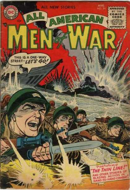 All-American Comics - All American Men of War - Men Of War - Thin Line - Soldiers - Explosions - Fighting