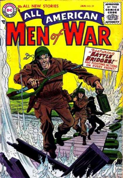 All-American Comics - All American Men of War - Peir - Army Men Running - Mine Bomb - Rafts - Water