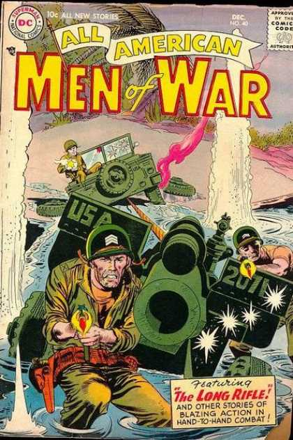 All-American Comics - All American Men of War - Army Jeep - Army Soldiers - Water Spout - Sandy Beach - Palm Trees
