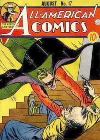 All-American Comics 17 - Green Lantern - Stairs - Gun - Man - Flying - Sheldon Moldoff