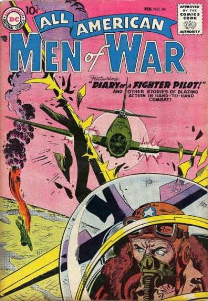 All-American Comics - All American Men of War - Diary - Fighter Pilot - Hand-to-hand Combat - Blazing Action - Attacking Airplane