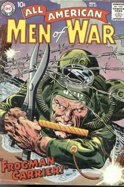 All-American Comics - All American Men of War - Barbed Wire - Military - Dynamite - Wire Clippers - Frogman Carrier