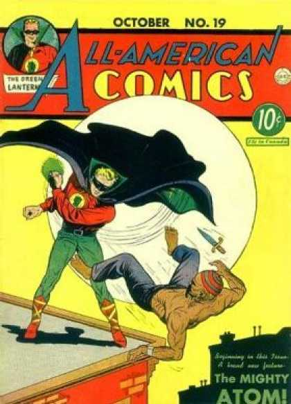All-American Comics 19 - Superheros - Knife - Building - Moon - Costume - Sheldon Moldoff