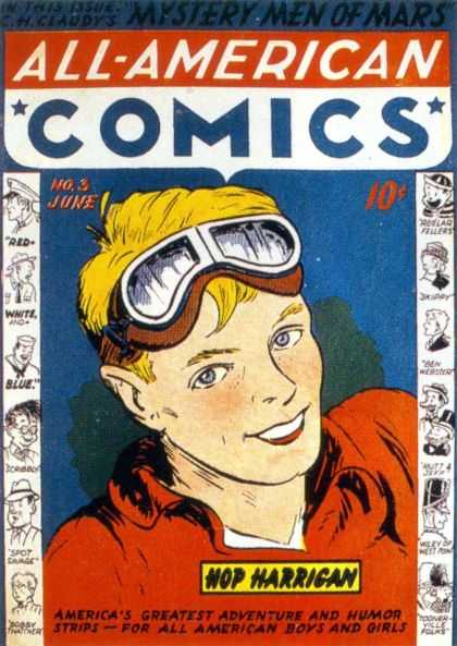 All-American Comics 3 - Hop Harrigan - Googles - Blonde Hair - Humor Strips - Red - Sheldon Mayer
