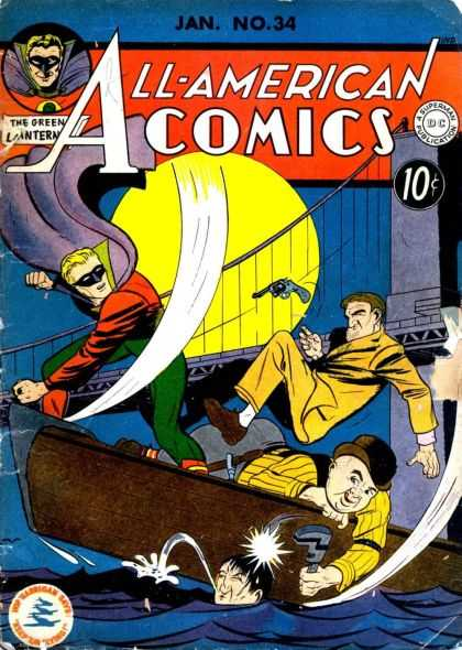 All-American Comics 34 - River Dump - Lost In The River - River Fight - Boat Up - Under Bridge Battle