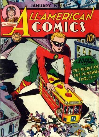 All-American Comics 55 - January - No 55 - Hap Harrigan - Green Lantern - The Riddle Of The Runaway Trolley