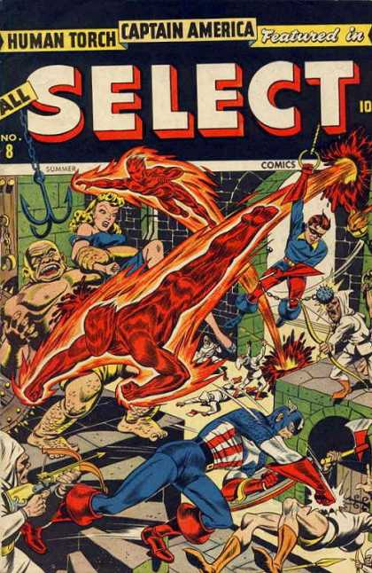 All Select Comics 8 - Human Torch - Captain America - Crossover - Fight - Damsel-in-distress