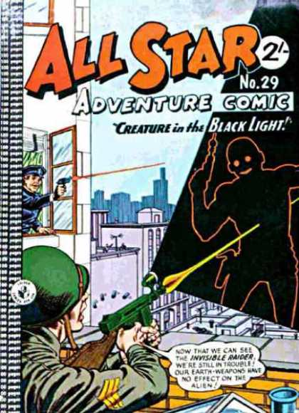 All Star Adventure Comic 29 - Creature In The Black Light - Gun - Shooting - Helmet - Police