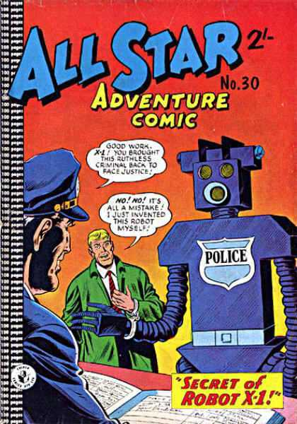 All Star Adventure Comic 30 - Robot - Speech Bubble - Police - Men - Book