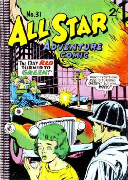 All Star Adventure Comic 31 - The Day Red Turned To Green - Hard Hat - Flames - Car - Traffic Light