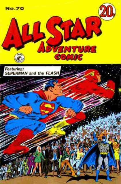 All Star Adventure Comic 70 - No 70 - 20 Cents - Superman - Flash - Crowd Of People