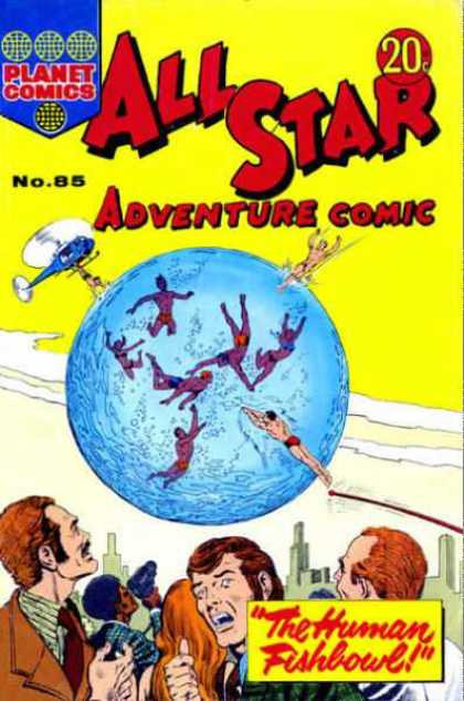 All Star Adventure Comic 85 - Swimmers - Water Sphere - Helicopter - Water Over City - Human Fishbowl