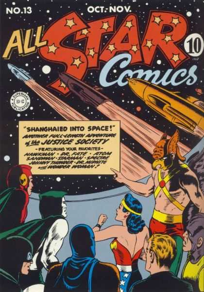 All Star Comics 13 - Justice Society - Wonder Woman - Johnny Thunder - Dr Fate - Scubaman