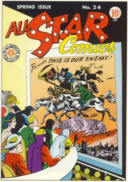 All Star Comics 24 - Four Horsemen - Batman - Wonder Woman - Hawkman - Swastika
