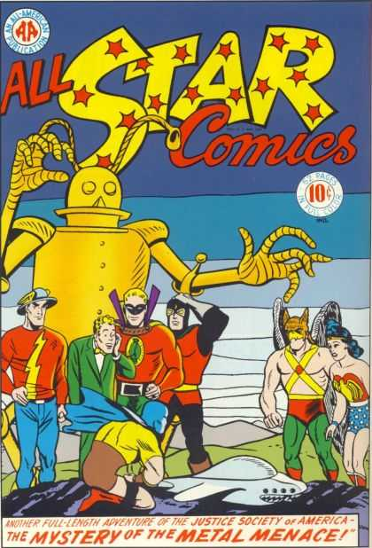 All Star Comics 26 - Justice Society Of America - Wonder Woman - Mystery Of The Metal Menace - Robot - Flash