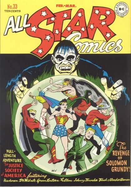 All Star Comics 33 - Revenge Of Solomon Grundy - The Justice Society Of America - Wonder Woman - Green Lantern - Johnny Thunder