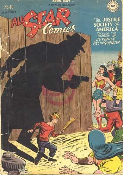 All Star Comics 40 - Villain With Gun - Shadow Of Villain - Villain Point Gun At Robin - Villain Point Gun At Wonder Woman - Boy With Wood - Carmine Infantino