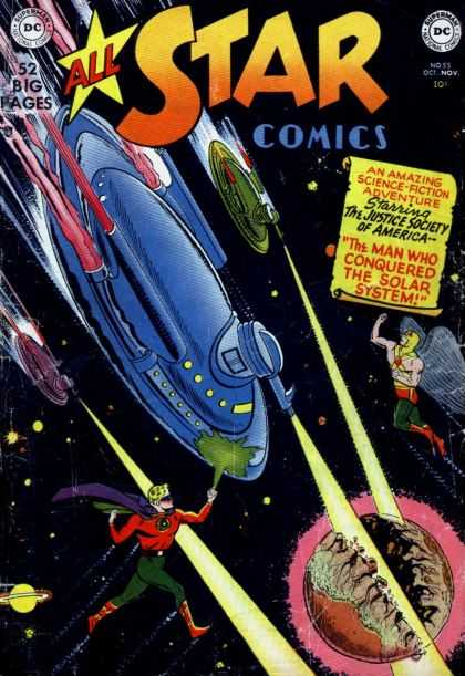 All Star Comics 55 - Hawkman - Green Lantern - Space Ships - Planets - Solar System