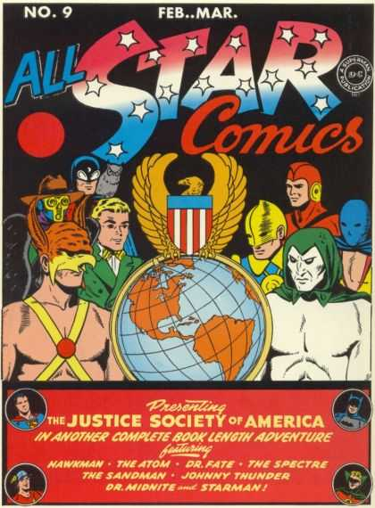 All Star Comics 9 - Justice Society Of America - Hawkman - The Atom - Dc - No 9