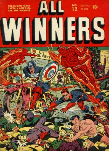 All Winners Comics 12 - The Human Torch - Captain America - The Sub Mariner - No 12 Spring Issue - Us Prisoners