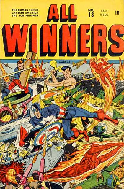 All Winners Comics 13 - Captain - America - Plane - Bomb - Fire
